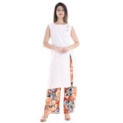 White Sleeveless With Printed Palazzo Set Rayon Kurti -3047