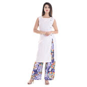White Sleeveless With Printed Palazzo Set Rayon Kurti -3048