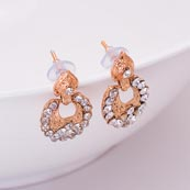 White Stone Circular Design with Golden Polish Earring for Women