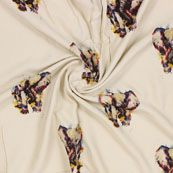 White Yellow Elephant Digital Print Cotton Slub Fabric-15117
