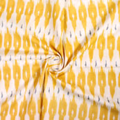 White Yellow Ikat Block Print Cotton Fabric-14827