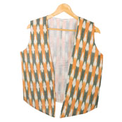 White Yellow Sleeveless Ikat Cotton koti jacket-12294