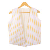 White Yellow Sleeveless Ikat Cotton koti jacket-12300