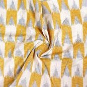 White Yellow and Gray Ikat Block Print Cotton Fabric-14831