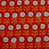White-Yellow and Red Flower Pattern Block Print Fabric-RL4312