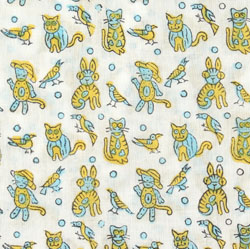 White Yellow animal Block Print Cotton Fabric-16054