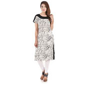 White and Back Cap Sleeve Printed Rayon and Cotton Kurti-3037