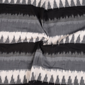 White and Black 3D Cotton Ikat Fabric-12098