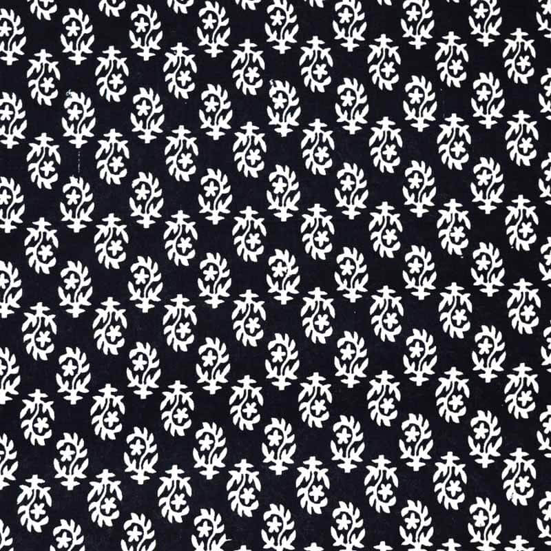 White and Black Bagru Hand Printed Indian Cotton Fabric