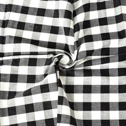 White and Black Checks Pattern Cotton Handloom Fabric-40174