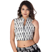 White and Black Cut Sleeve Cotton Ikat Blouse-30208