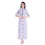 White and Black Half Sleeve Shirt Collar Style Cotton Kurti-3085