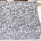 White and Black Handmade Leaf Pattern Kantha Quilt-4333