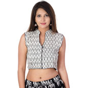 White and Black Sleeveless Cotton Ikat Blouse-30200