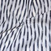 White and Black Zig Zag Pattern Ikat Fabric-5698