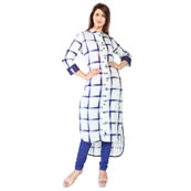 White and Blue 3/4 Sleeve Checks Print Cotton Kurti-3123