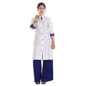 White and Blue 3/4 Sleeve Solid Cotton Kurti-3012