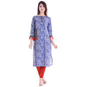 White and Blue 3/4 Sleeve Tassel Pattern Cotton Kurti-3093