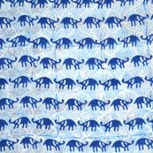 White and Blue Beautiful Rhino Block Print Cotton Fabric