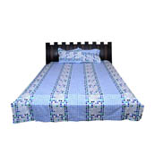 White and Blue Checks Rajasthani Cotton Double Bed Sheet-0D27