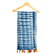 White and Blue Cotton Block Print Dupatta With Multicolored Pom Pom-33067