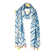 White and Blue Cotton Block Print Indigo Dupatta With Multicolored Pom Pom-33062