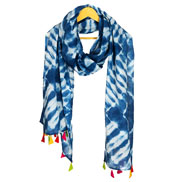 White and Blue Cotton Indigo Block Print Dupatta With Multicolored Pom Pom-33090