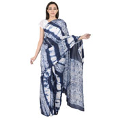 White and Blue Cotton Shibori Saree-20090