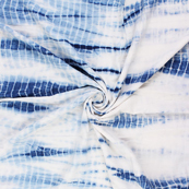 White and Blue Cotton Shibori Tie Dye Fabric-14406