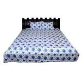 White and Blue Floral Printed Cotton Double Bed Sheet-0D16