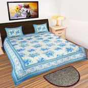 White and Blue Flower print Bedsheet with 2 Pillow Covers