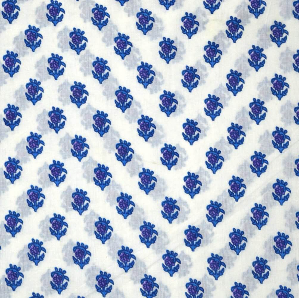 White and Blue Hand Block Motif Print Pure Cotton fabric
