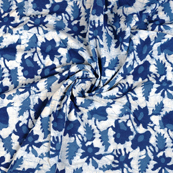 White and Blue Indigo Cotton Block Print Fabric-14463