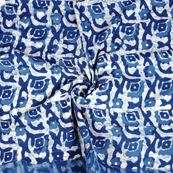 White and Blue Indigo Cotton Block Print Fabric-14468