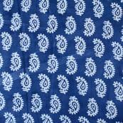 White and Blue Paisley Pattern Block Print Cotton Fabric-4209