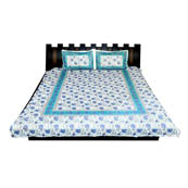 White and Blue  Print Cotton Double Bed Sheet -0KLM03