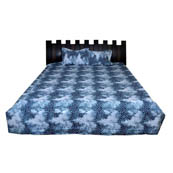 White and Blue Printed Cotton Double Bed Sheet-0G70