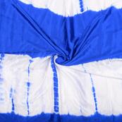 White and Blue Satin Batik Fabric -32062