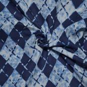 White and Blue Square Shape Indigo Block Print Fabric-14069