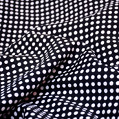 White and Dark Blue Dotted Pattern Crepe Fabric-6015