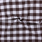 White and Dark Brown  Tom Tom Checks Handloom Cotton Fabric-40030
