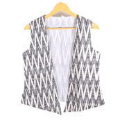White and Gray Cut Sleeve Ikat Cotton Koti Jacket-12231