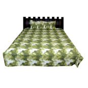 White and Green Printed Cotton Double Bed Sheet-0G73