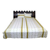 White and Green Rajasthani Cotton Double Bed Sheet-0D23