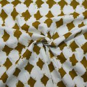 White and Green Unique Design Block Print Cotton Fabric-14193