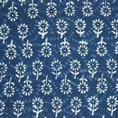 White and Indigo Blue Flower Print Indian Cotton Fabric by Yard
