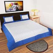 White and Navy Blue printed Bedsheet with 2 Pillow Covers