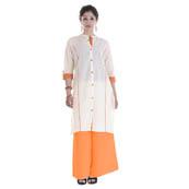 White and Orange 3/4 Sleeve Solid Cotton Kurti-3013