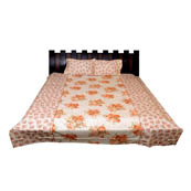 White and Orange Floral Printed Cotton Double Bed Sheet-0G50
