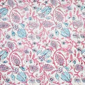 White and Peach Leafs Pattern Block Print Cotton Fabric by the yard
